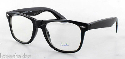 Clear Lens Black Frames Wayfarer Glasses Designer Fashion Nerd Geek Mens Womens