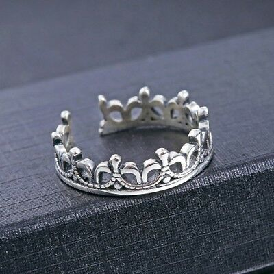 925 Sterling Silver Marcasite Princess Crown Toe Ring