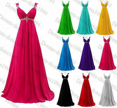 STOCK New Long Bridesmaid Prom Ball Gown Evening Party Wedding Dress Size 6-18