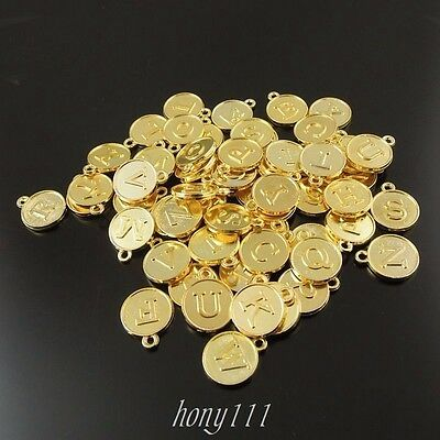 60pcs Gold Tone Alloy Mixed Letters Round Pendant Charms Jewelry 38419