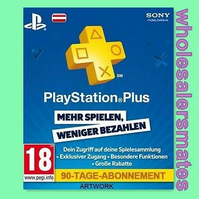 PS+ 90 Tage Karte PlayStation Live Plus 3 Monate Card Code - PSN PS3 PS4 AT