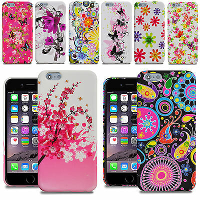 For iPhone 6 6S / iPhone 6 Plus 5-5 Flower Silicone Gel Skin Case Cover + Film
