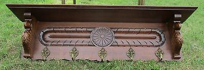 Antique Hand Carved Wood Coat Hat Rack Eagles Stunning