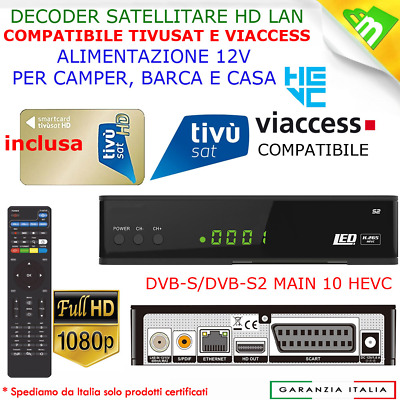 Decoder Satellitare Hd Hk540Gt+Lan+Tessera Tivusat Hd, Compatibile Tv Svizzera