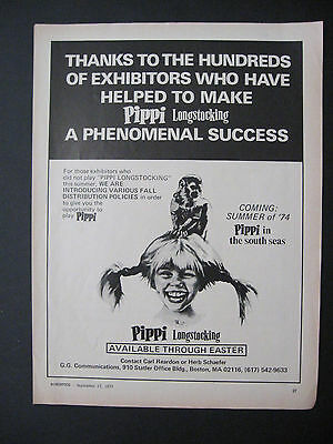 1973 Motion Picture PIPPI LONGSTOCKING Movie Scarce Trade Print Ad