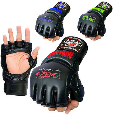 Authentic Rex Leather MMA Grappling Gloves UFC Fight Boxing Punch Bag Sparring N
