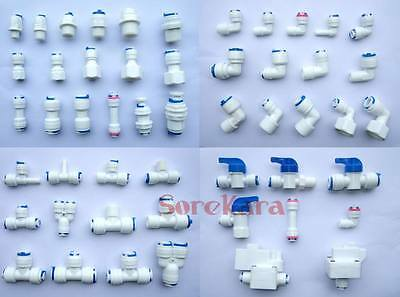 "1/4"" Push Fit Pipe Tube Fittings Unit Elbow Tee Y Ball Valve RO Aquarium"