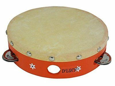 D'Luca TH7-5B Kids 7 Inches Orange Tambourine with Head
