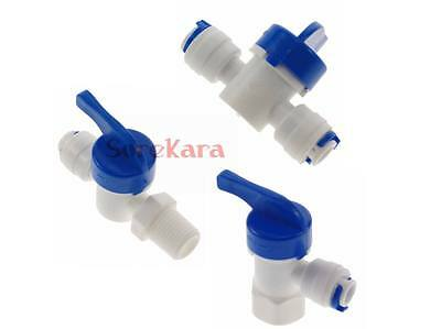 "1/4"" 3/8"" Push Fit Pipe Tube Shut-off Ball Valve Tank Valve RO Aquarium"