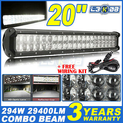20inch 294W PHILIPS LED Work Light Bar Flood Spot Offroad Driving 4x4WD SUV 24""