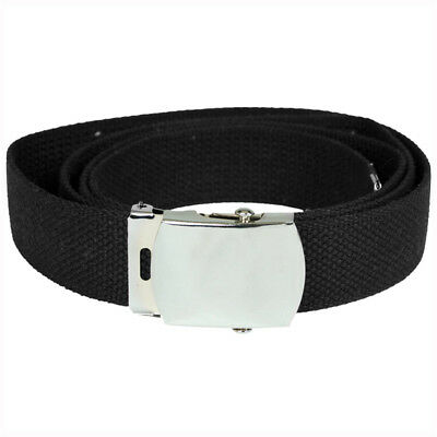 Us Army Military Style Web Webbing Belt Cotton Canvas With Silver Buckle Black