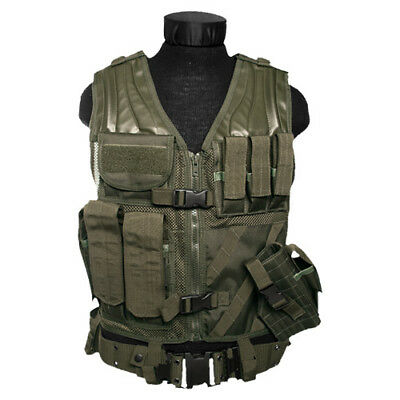 Usmc Army Tactical Assault Combat Marines Vest + Pouches + Holster Carrier Olive