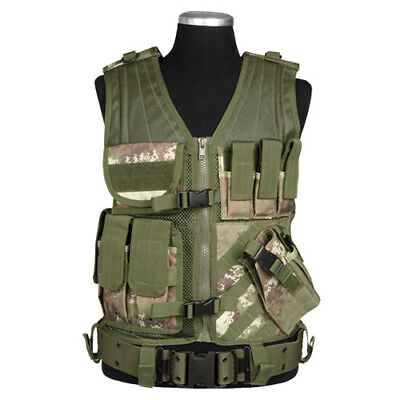 Army Combat Usmc Tactical Vest + Mag Pouches Range Vegetato Woodland Camo