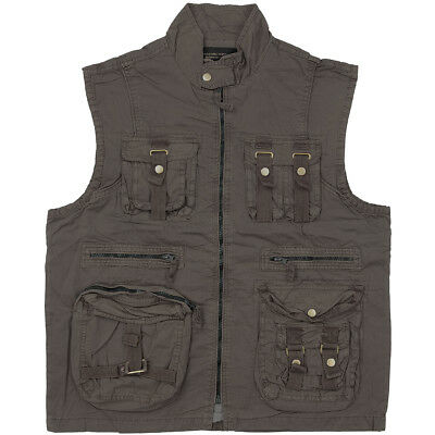 Mil-Tec Vintage Survival Security Vest Mens Fishing Travel Gilet Prewashed Black