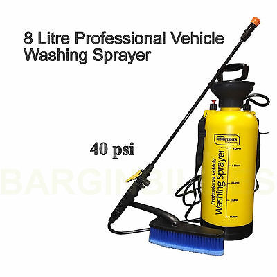 New 40 PSI 8 Litre Professional Car Washing Pressure Sprayer With Attachments