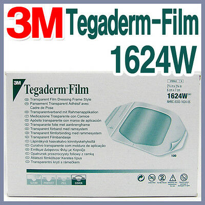 3M Tegaderm-Film 1624W 100sheet Transparent Adhesive Wound Care Water Proof
