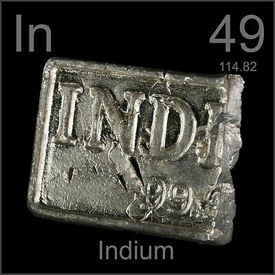 50 grams of 99.99% Pure Indium Bullion Metal Bar Ingot 50g Great Investment!