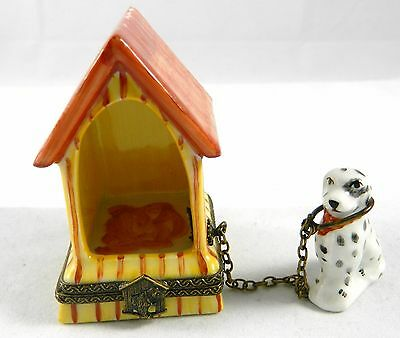 Authentic Porcelaine de Limoges Dog House Handpainted Made in France LTD ED