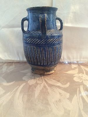 Antique 12th Century Islamic Blue Ceramic Jar
