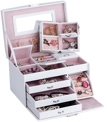 Large White Jewellery Box Jewelry Watch Case W/ Mirror Case Gifts ZG149
