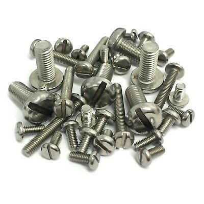 M4, M5, M6mm A2 Stainless Steel Machine Screws - Slotted Pan Head Bolts