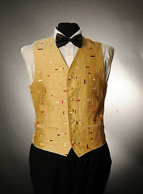 W - 1007. Mens/boys Gold And Red Waistcoat / Dress/ Suit / Party / Formal