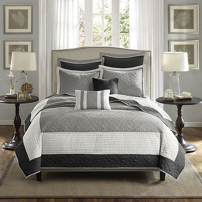 Beautiful 7Pc Modern Elegant Grey Black White Stripe Textured Quilt Pillows Set