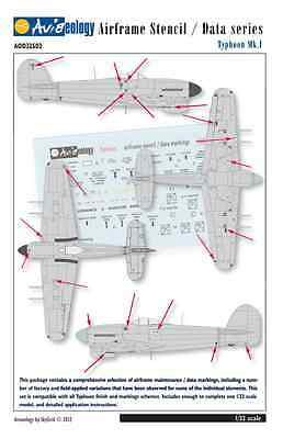 Typhoon Airframe Stencil Data Markings - 1/32 scale Aviaeology Decals