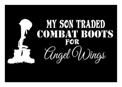 My Son Traded Combat Boots For Angel Wings 4X9 Military Memorial Decal Sticker