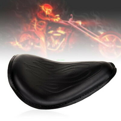 For Motorcycle Harley Davidson Flame Leather Solo Seat Bobber Chopper Custom psb