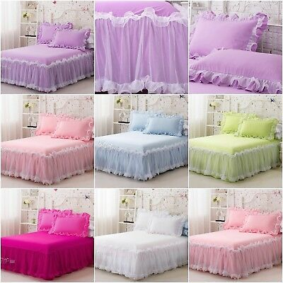King/Queen/Single Size Pleated Valance/ Solid Bed Skirt Set 6 Designs 100%Cotton
