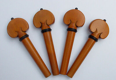 Good Quality 4 pcs Violin Pegs Heart Shape Model Boxwood 4/4, Ebony Ring & Ball