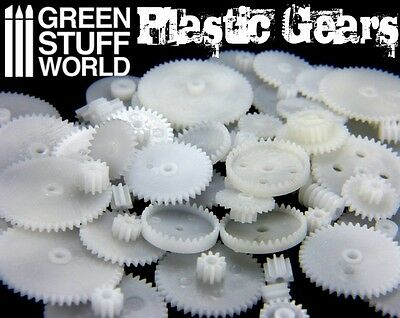 58x PLASTIC COGS and GEARS Steampunk - Clock Watch Robot Parts DIY Model Scenery