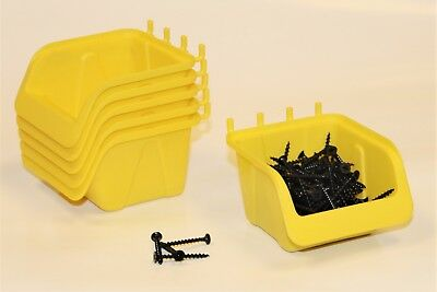 10 NEW Yellow Parts Storage Bins - Hooks to Peg Tool Board - Workbench Pegboard