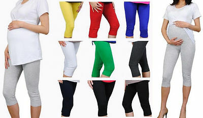 Maternity Leggings Cropped 3/4 Length Cotton Very Comfortable Size 8 - 20