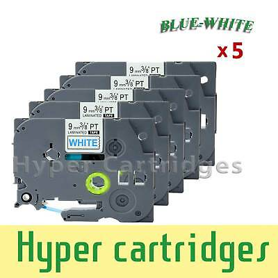 5PK Label Tape Refill Brother TZ-223 TZe-223 Blue on White PTouch 9mm x 8m
