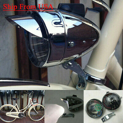 Classical Chrome Vintage Bicycle Bike LED Light Headlight Front Retro Head Lamp