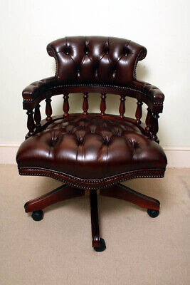 Bespoke English Hand Made Leather Captains Desk Chair Dark Brown Colour