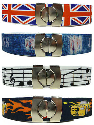 Kids Belts/Childrens Belts. Boys & Girls Printed Elasticated Belts 1-11 Years