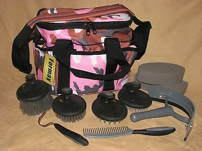 10 Piece Horse or Pony Grooming Kit Palm Comfort Tools Carry Tote Bag PINK CAMO