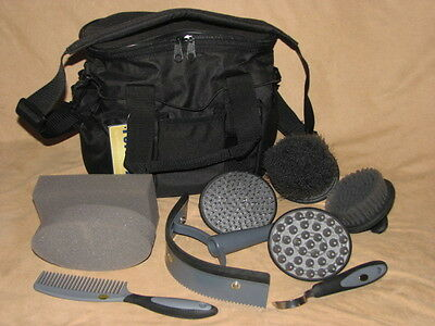 10 Piece Horse or Pony Grooming Kit Palm Comfort Tools Carry Tote Bag BLACK
