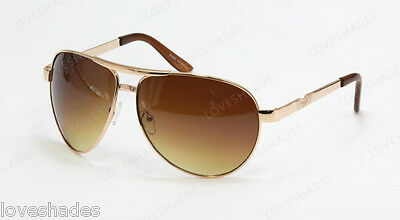 New Classic Retro Aviator Mens Sunglasses Shades Fashion Gold Brown Metal Large