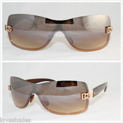 New DG Shield Womens Designer Sunglasses Wrap Gold Brown Retro Fashion Shades