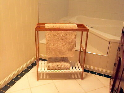 Bamboo Towel Rail Free Standing with 3 Rails Rack & White Wooden Shelf Stand