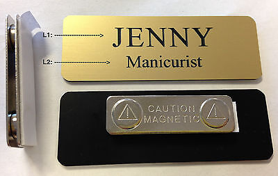"Custom Employee Name Tag Matte Gold w Corner Rounds & magnet attachment 1"" x 3"""