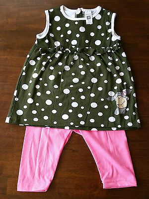 UK SOLD Girls 2-Piece sleeveless Top&Legging Set Summer Outfit Green with dots