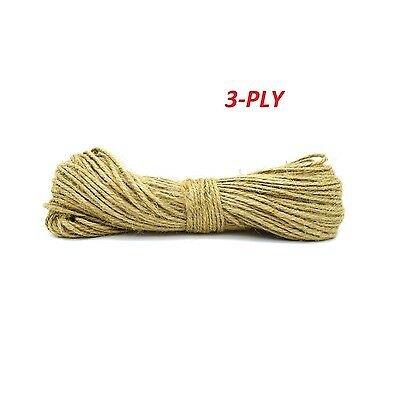 50 Meters 3 Ply Strong Jute Thick Twine Natural Hessian String Cord