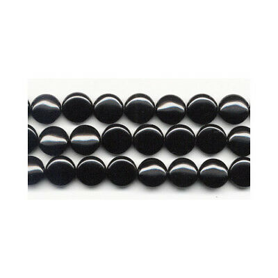 Strand Of 25+ Black Onyx 14mm Puffy Coin Beads GS2750-4