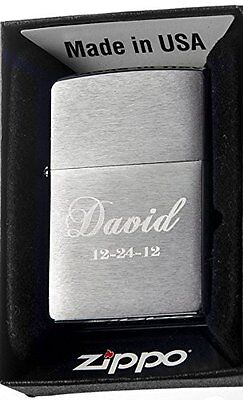 Groomsman Personalized Zippo Brush 200 Silver Custom Lighter Free Engraving
