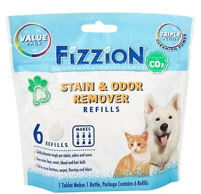 Fizzion Concentrated Cleaner 6 Tablet Pet Stain & Odor Remover Makes 6 Refills